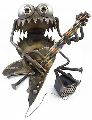 Sugarpost Gnome Be Gone Electric Guitar Player Welded Metal Art Made in USA