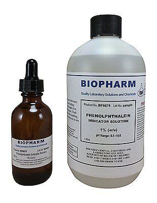 Phenolphthalein Indicator 1 Solution 500 Ml Bottle Plus 1 2 Oz Dropper Bottle