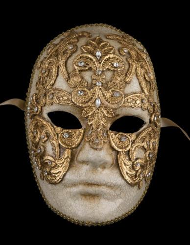 Mask from Venice Face Volto Eyes Wide Shut Paper Mache Macrame Golden 2311