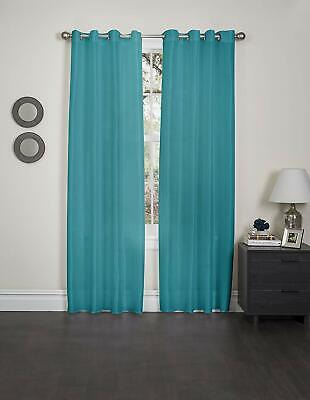 """Kashi Home Holly Collection Faux Silk Window Panel/Curtain / Drape 57""""x 84"""" Blue"""