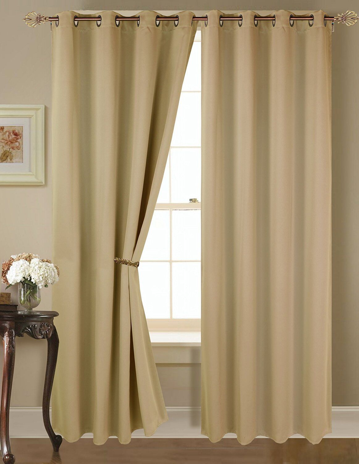 Empire Amber Solid Thermal Blackout Grommet Window Curtain Panel Extra Wide 54