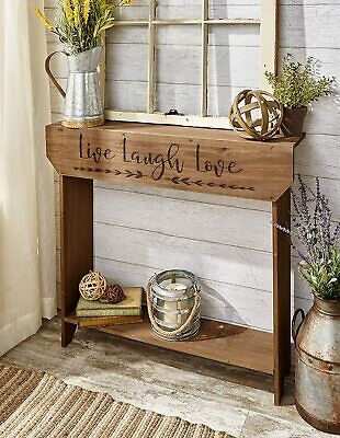 Farmhouse Sentiment Console Table with Live Laugh Love Inscribed/ A Rare Find