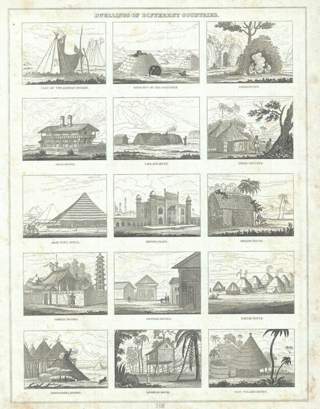 1835 Bradford Map or Chart Illustrating the Dwellings in Different Countries