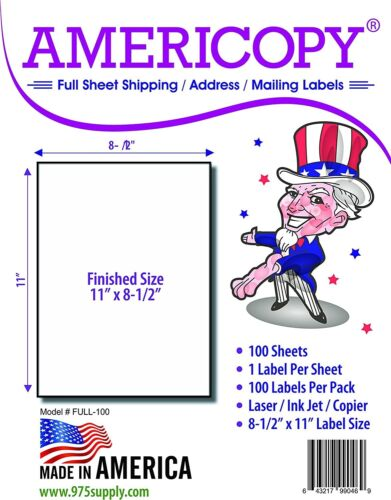 """Full Sheet Labels 8.5"""" x 11"""" Shipping/Address Labels 100 Sheets/Pack (Americopy)"""