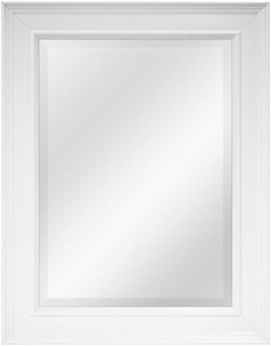 MCS White Grooved Beveled Rectangular Wall Mirror, 21-Inch b