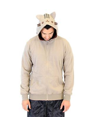 Adult Emoticon Webcomic Series Pusheen the Cat Light Gray Kitty Costume Hoodie - Pusheen The Cat Costume