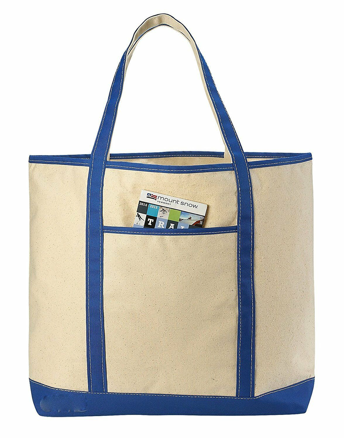 PACK OF 4 - LARGE Canvas Reusable Grocery Shopping Bag Boat
