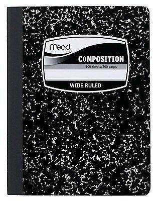 4PAK MEAD Composition Book WIDE Ruled Black Marble Cover Notebook Journal School ()