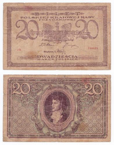 Poland, 20 Marek 1919, Pick 21, VG