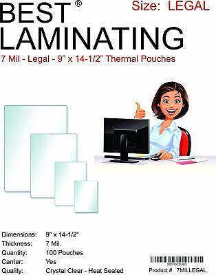 Best Laminating 7mil. Legal Premium Laminating Pouches 9 X 14.5 100 Pouches