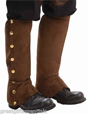 STEAMPUNK BROWN SPATS FAUX SUEDE Costume Accessory Boot Shoe Covers Victorian