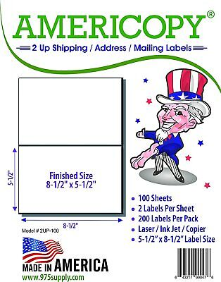 Americopy Half Sheet Shipping Labels 8.5 X 5 Inches 200 Labels