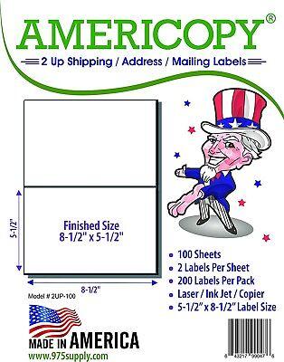 Americopy 2Up  8 5  X 5 5  Shipping Address Labels 2 Sheet 100 Sheets Pack