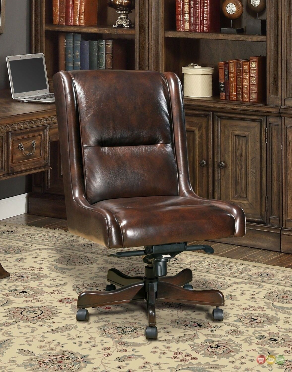 Cigar Brown Genuine Leather Armless Desk Chair Traditional O