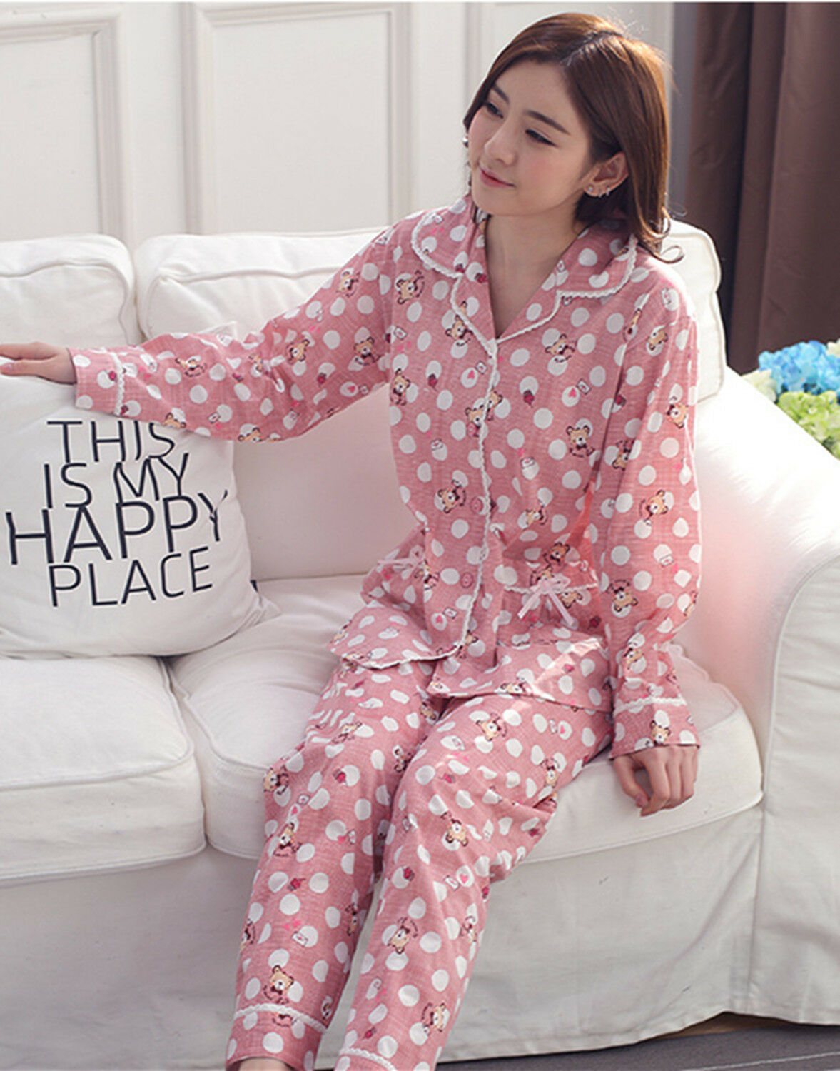 01ebf50138bc New Ladies Women Cute British Bears Pink Top   Trousers Pyjamas Pajamas  ladpj67