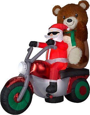 6 1/2' Gemmy Airblown Inflatable Mixed Media Santa On Motorcycle w/ Teddy Bear