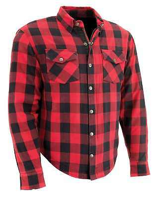 Milwaukee Red Black Plaid Motorcycle Riding Shirt, Body Armor Protective Aramid