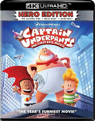 Captain Underpants  First Epic Movie  4K Ultra Hd Blu Ray Disc Only  2017