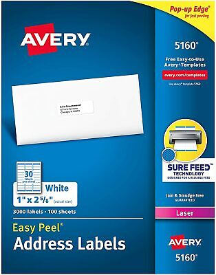 Avery Easy Peel Permanent Laser Address Labels 1 X 2 58 3000 Labels