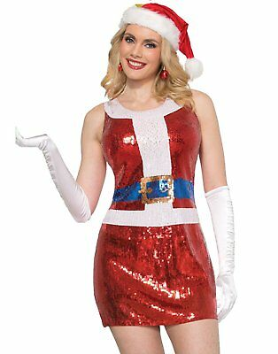 Mrs. Santa Claus Women's Costume Dress Sequins Christmas Adult Pub Crawl Party (Pub Crawl Santa Costume)