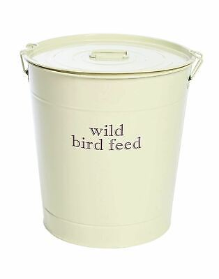 CREAM Large 15KG Metal Wild Bird Food Seed Storage Bin Box Container Bucket Lid