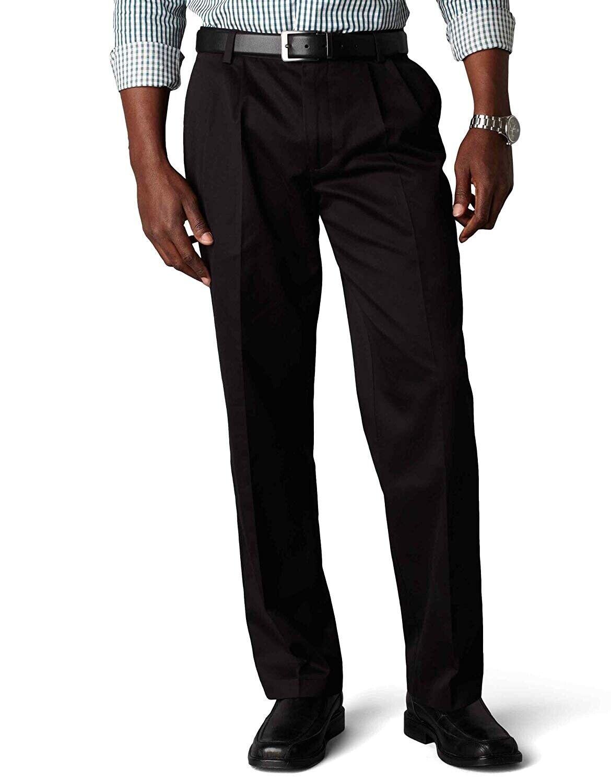 Dockers Mens Pants 42X36 Black NWT Signature Khaki Pleated N