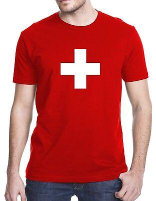 Switzerland Swiss Flag Red T-Shirt Tshirt Shirt Tee ()