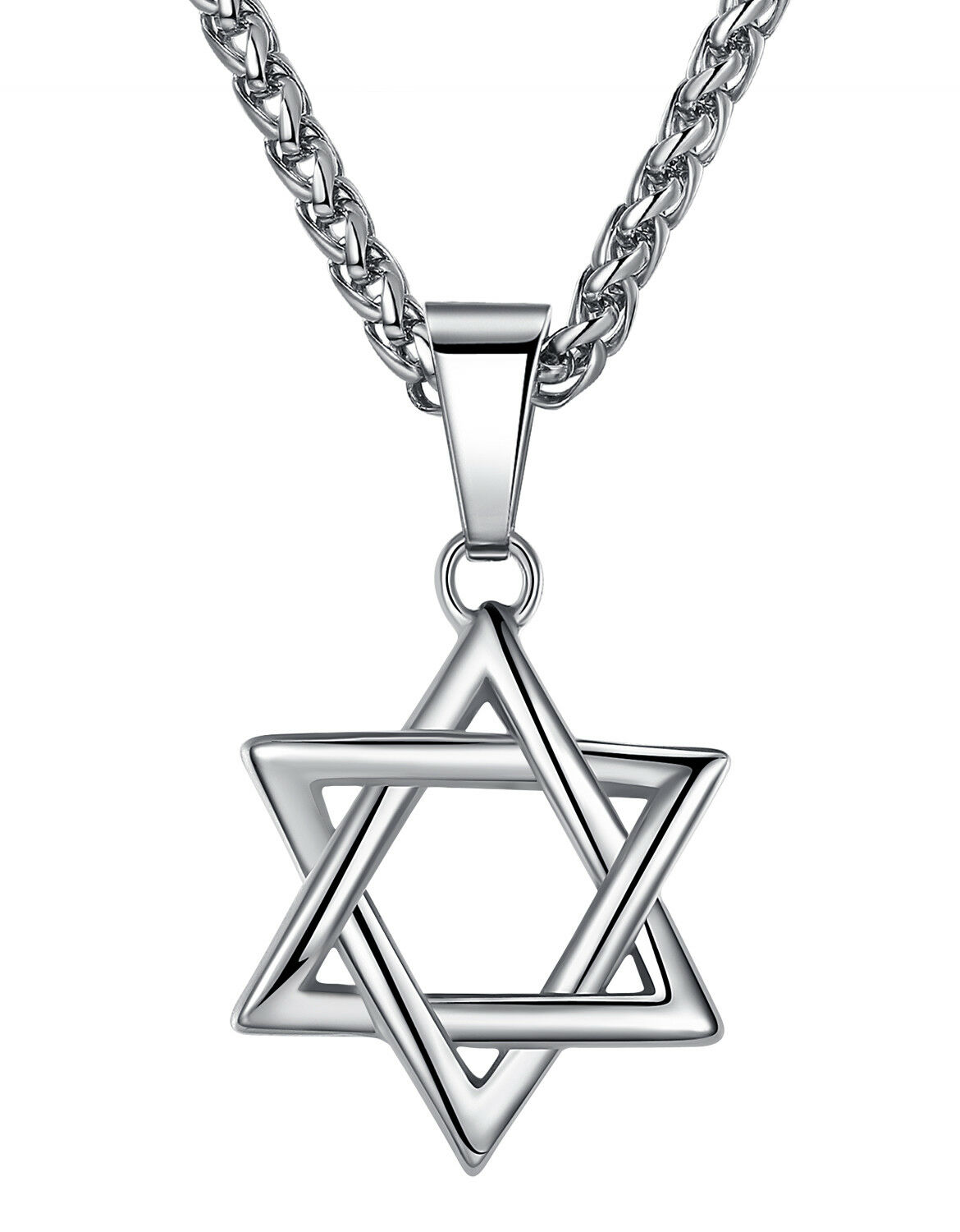 Stainless Steel Unisex Jewish Star of David Pendant Necklace Chains, Necklaces & Pendants