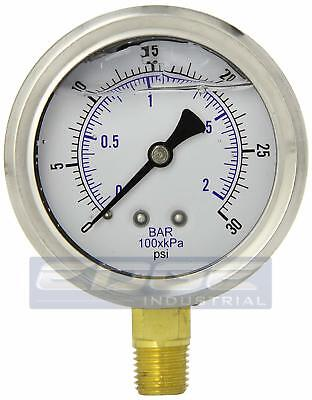 Liquid Filled Pressure Gauge 0-30 Psi 2.5 Face 14 Lower Mount Wog
