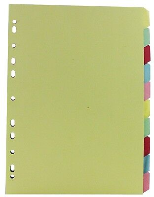 A4 MANILLA MULTI COLOUR DIVIDERS 10 PART BLANK TABS NP for sale  Shipping to Ireland