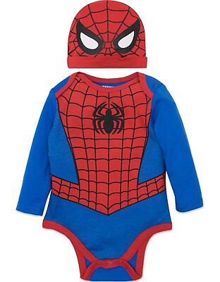 Marvel Spiderman Baby Boys' Costume Long Sleeve Bodysuit and Cap Set - Spiderman Baby Costume