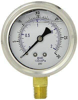 Liquid Filled Pressure Gauge Hydraulic Lower Mnt 1.5 Face 0-30 18 Npt