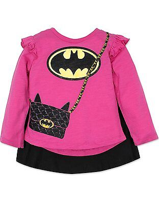 Toddler Batgirl Shirt with Cape Long Sleeves, - Batgirl Toddler