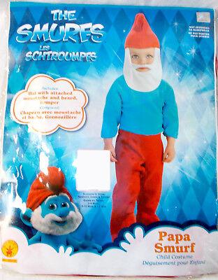 Rubies Papa Smurf Child Costume Blue Red Romper Headpiece Infant 1-2 2-4 NIP](Smurf Costume Kids)