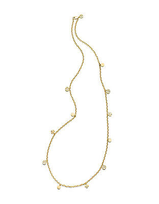 NWT Tory Burch Gold Logo Charm Rosary Necklace