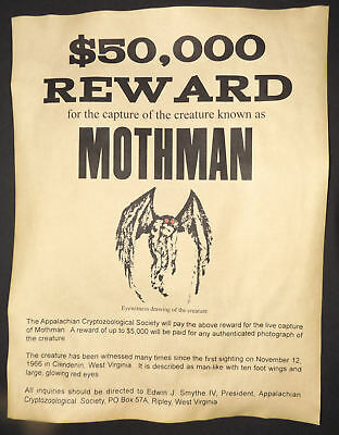 Mothman Wanted Poster, Halloween Decor, 8-1/2 x 11, - 1/2 Halloween Decorations