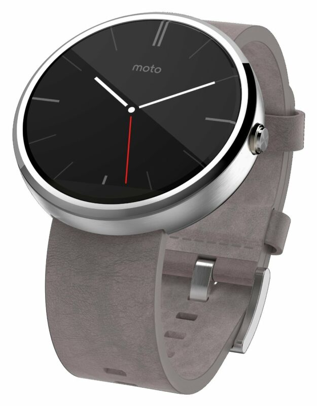 Motorola Moto 360 Android Smartwatch w/ 22mm Leather Band - Stone Gray