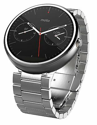 OEM Motorola Moto 360 Android Smartwatch w/ 23mm Metal Band - Natural Silver