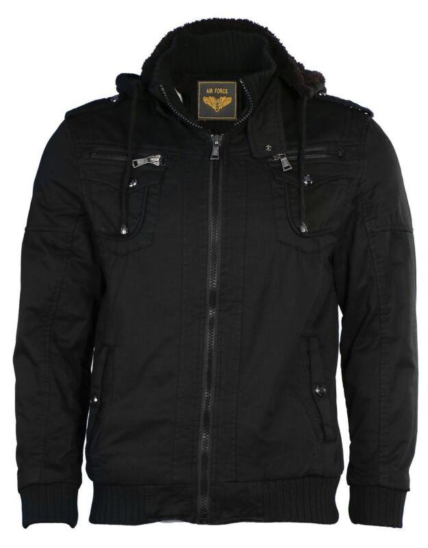 Leather++ Men's Sherpa Lined Sahara Hooded Multi Pocket Airforce Bomber Jacket
