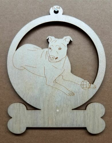 Pit Bull dog ornament wooden Christmas Gift D-84