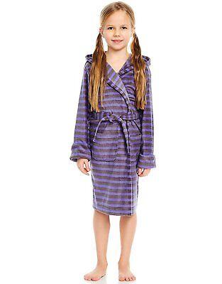 - Leveret Girls Purple Grey Striped Print Fleece Sleep Robe (Size 2 Toddler -14Y)