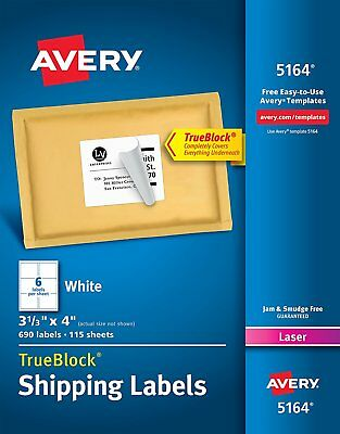 1200 Avery 5164 White 3-13x 4 Shipping Labels For Laser Printer 2 Boxes Of600