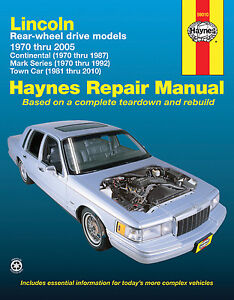 Repair-Manual-Haynes-59010-fits-81-10-Lincoln-Town-Car