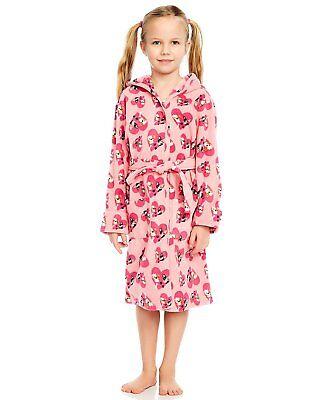 - Leveret Girls Bulldog Print Fleece Sleep Robe (Size 2 Toddler - 14Y)