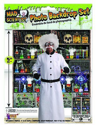 Mad Scientist Lab Photo Backdrop Set Laboratory Halloween Party Decor Prop 5' ()