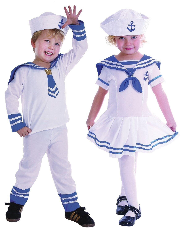 Boys Girls Kids Toddler Sailor Uniform Fancy Dress Costume Outfit 2