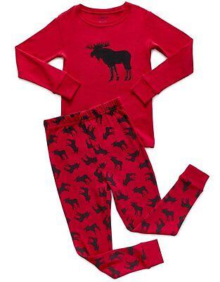 Leveret Boys Girls Christmas Moose Pajama Set 100% Cotton (Size 12M-14Y)](Girls Size 14 Christmas Pajamas)