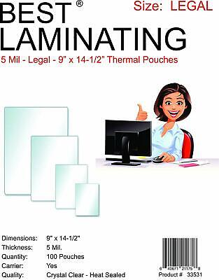Best Laminating 5 Mil Clear Legal Size Therm. Lam. Pouches - 9 X 14.5 - 100 (Clear Legal Pouch Laminates)