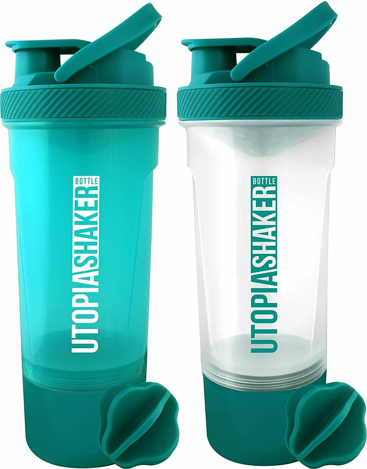 2 Pack Blender Bottle Classic 24 oz. Shaker Mixer Cup Twist and Lock Utopia Home