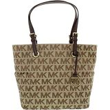 Michael Kors Women's Jet Set Signature Monogram Fabric Shoulder Tote